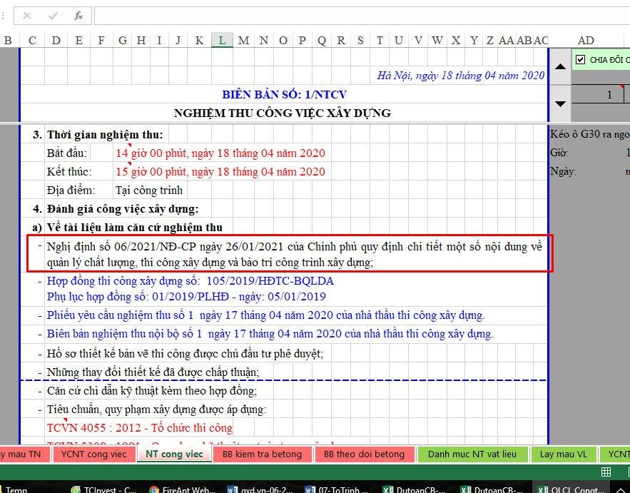 Các mẫu biên bản nghiệm thu được cập nhật Nghị định số 06/2021/NĐ-CP